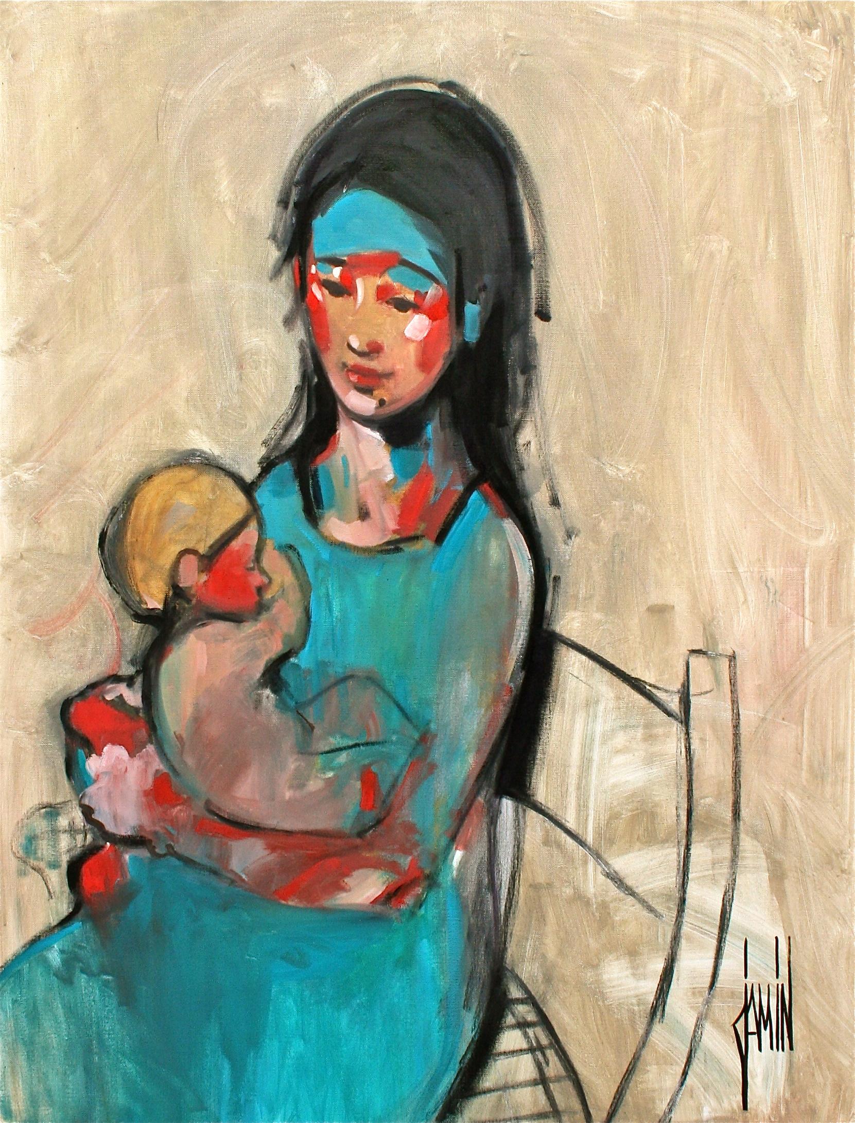 Maternité bleue - huile sur toile - 89x116cm - année 2010