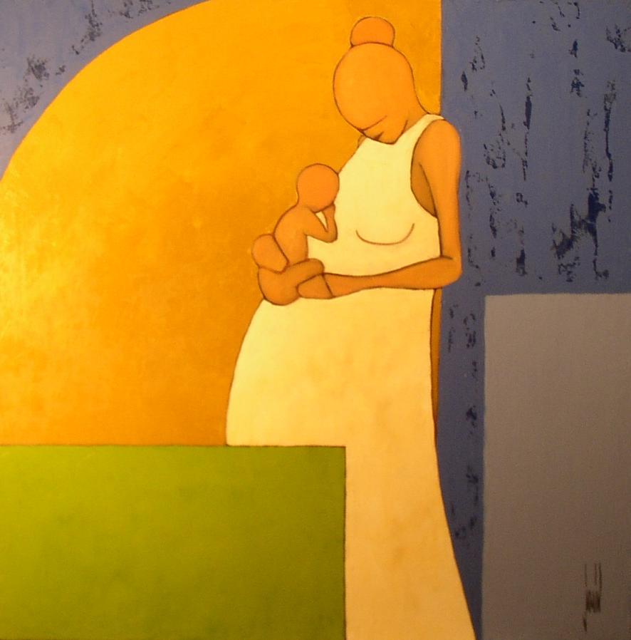 Maternité - huile sur toile - 80x80cm - année 2003