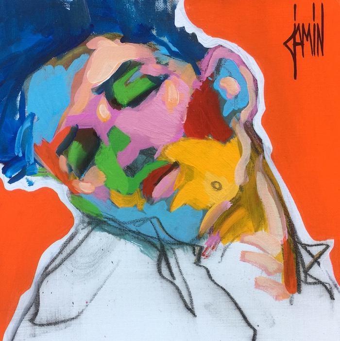 Introportrait au fond orange - acrylique sur toile - 30x30cm - année 2019